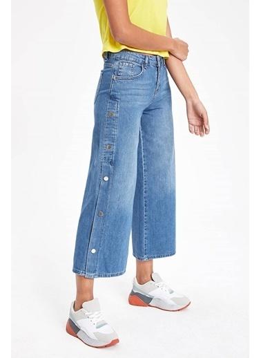 DeFacto Çıtçıt Detaylı Denim Pantolon Mavi